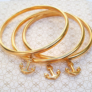 Gold Anchor Charm Bangle - bracelets & bangles