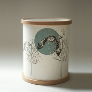 Flying Owl Illustrated Candle Cover - kitchen