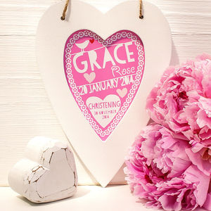 Personalised Christening Framed Heart - favourites