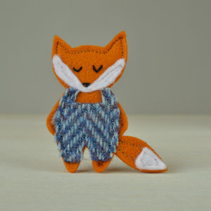 Handmade Fox Brooch With Harris Tweed Dungarees - pins & brooches