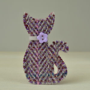 Harris Tweed Cat Brooch - pins & brooches
