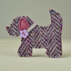 Harris Tweed Dog Brooch - pins & brooches