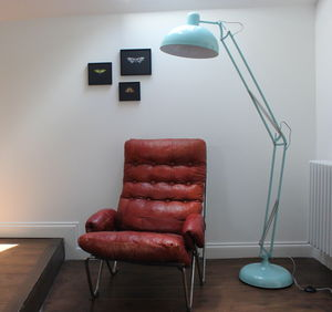 Powder Blue Angled Floor Lamp - dining room