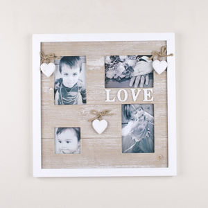 White Hearts Love Four Frame Wall Hanging
