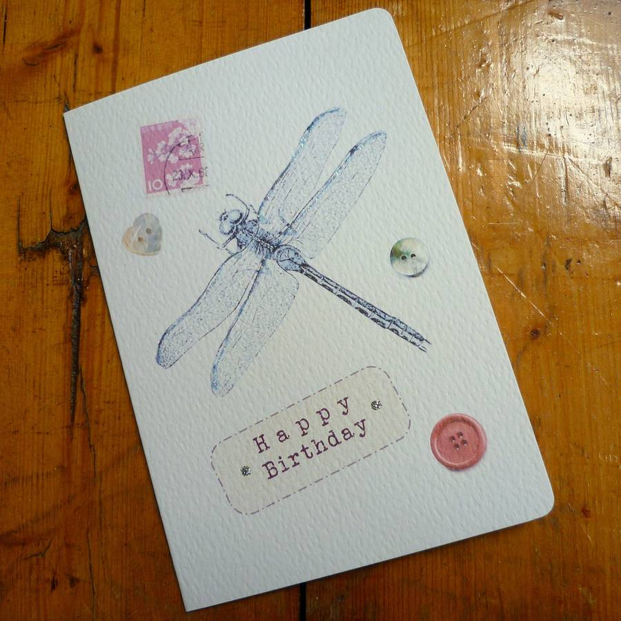 Vintage Inspired Dragonfly Birthday Card