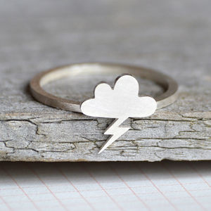 Lightning Cloud Ring In Sterling Silver - children's jewellery