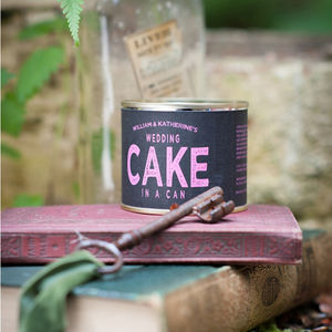 Personalised Wedding Cake In A Can - wedding favours
