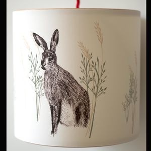 Hare Illustrated Handmade Lampshade - lamp bases & shades