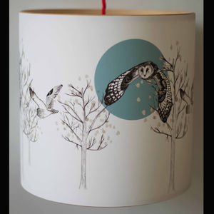 Flying Owl Illustrated Handmade Lampshade - lampshades