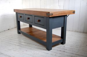 Aged Oak Topped Kitchen Island - dining tables