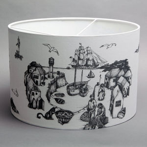 Large Linen Cornish Toile Lampshade - lamp bases & shades