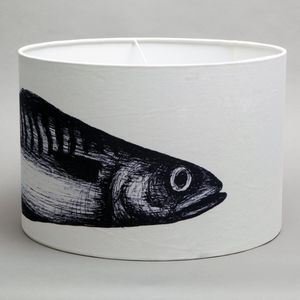 Large Linen Single Mackerel Lampshade - lighting