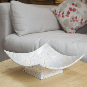 Hand Crafted Cream Square Marble Bowl - kitchen
