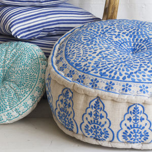 Nomad Embroidered Linen Pouffe, Blue - floor cushions & beanbags