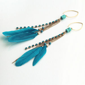 Turquoise Gemstone Feather Earrings