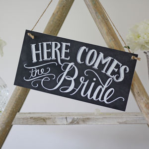 Here Comes The Bride Wedding Sign – Chalkboard Style - outdoor decorations