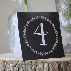 Chalkboard Wedding Table Number Cards - table decorations