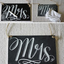 'Mr' And 'Mrs' Chalkboard Style Wedding Signs
