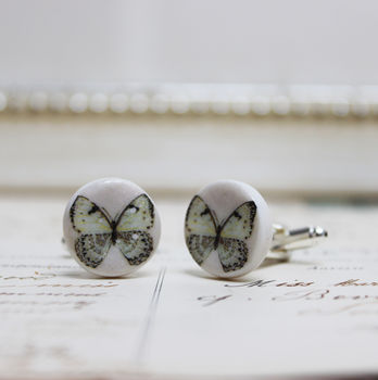 Porcelain Blue Butterfly Cufflinks