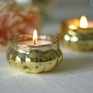Mini Mercury Gold Tea Light Holder - candles & home fragrance