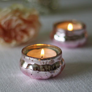 Mini Mercury Pink Tea Light Holder - candles & home fragrance