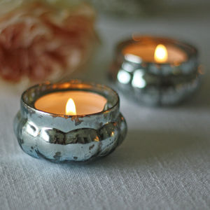 Mini Mercury Teal Tea Light Holder - candles & home fragrance