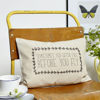 'Gotta Fall Before You Fly' Boudoir Cushion
