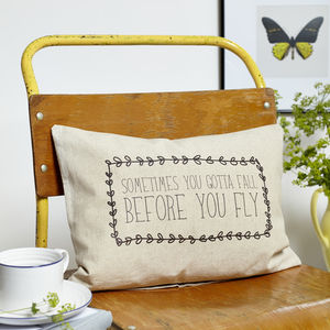 'Gotta Fall Before You Fly' Boudoir Cushion - cushions