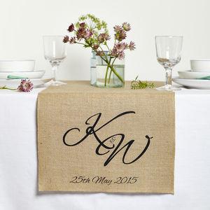 Personalised Monogram Wedding Table Runner - table decorations