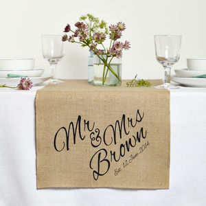 Personalised Mr And Mrs Wedding Table Runner - table linen
