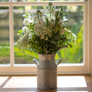 White Garden Fresh Flowers And Churn Vase