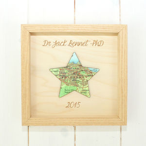 Personalised Graduation Map Star Artwork