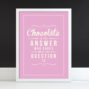 'Chocolate Is The Answer' Retro Art Print - birthday gifts for her under £50