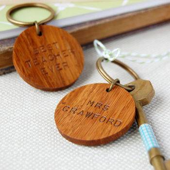 Personalised 'Best Teacher Ever' Wooden Keyring