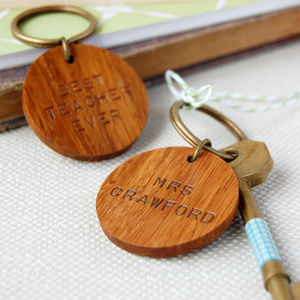 Personalised 'Best Teacher Ever' Wooden Keyring - gifts for teachers