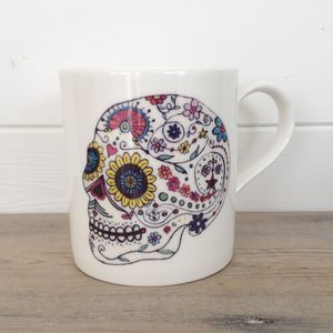 Day Of The Dead Skull Ceramic Mug - dining room