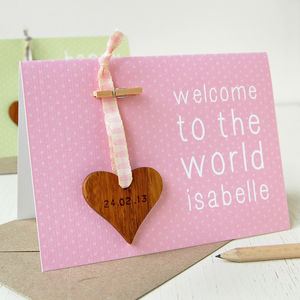 Personalised New Baby Heart Keepsake Card - new baby keepsakes