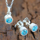 Silver Blue Topaz Gemstone Jewellery Set