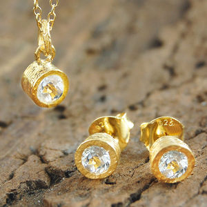 Gold White Topaz Gemstone Jewellery Gift Set - women's jewellery