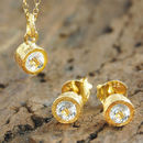 Gold White Topaz Gemstone Jewellery Gift Set