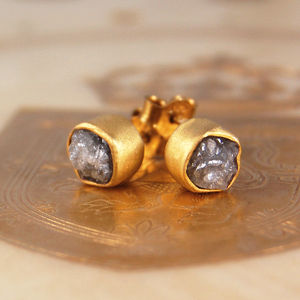 18k Rough Diamond Vermeil Stud Earrings - fine jewellery