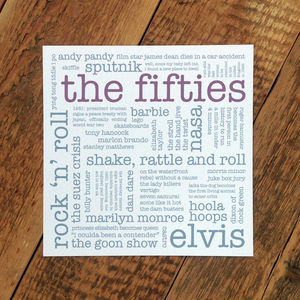 60th Birthday Card 'The Fifties'