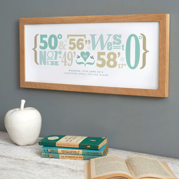 Personalised Coordinates Print - Wedding Style - Seaglass & Driftwood - FSC Oak Frame