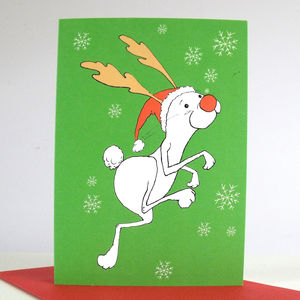 'Rudolph Rabbit' Pack Of Six Christmas Cards