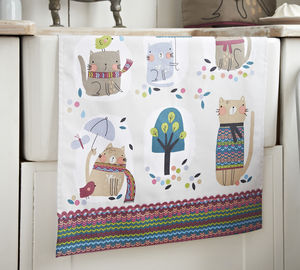 Cozy Cats Cotton Tea Towel - kitchen accessories