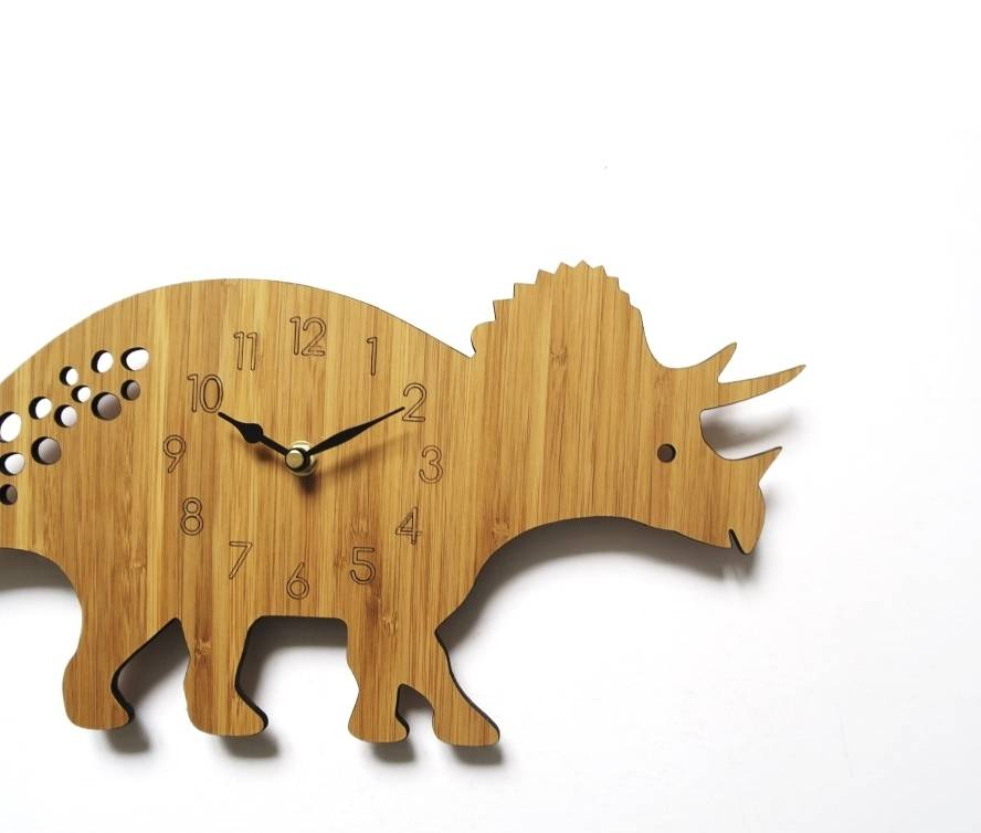 Triceratops Personalised Children S Dinosaur Clock By Owl