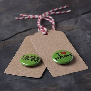 Love Or Hate Sprouts Christmas Badge On Gift Tag - cards & wrap