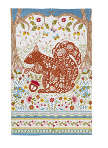 Woodland Squirrel Cotton Tea Towel - kitchen