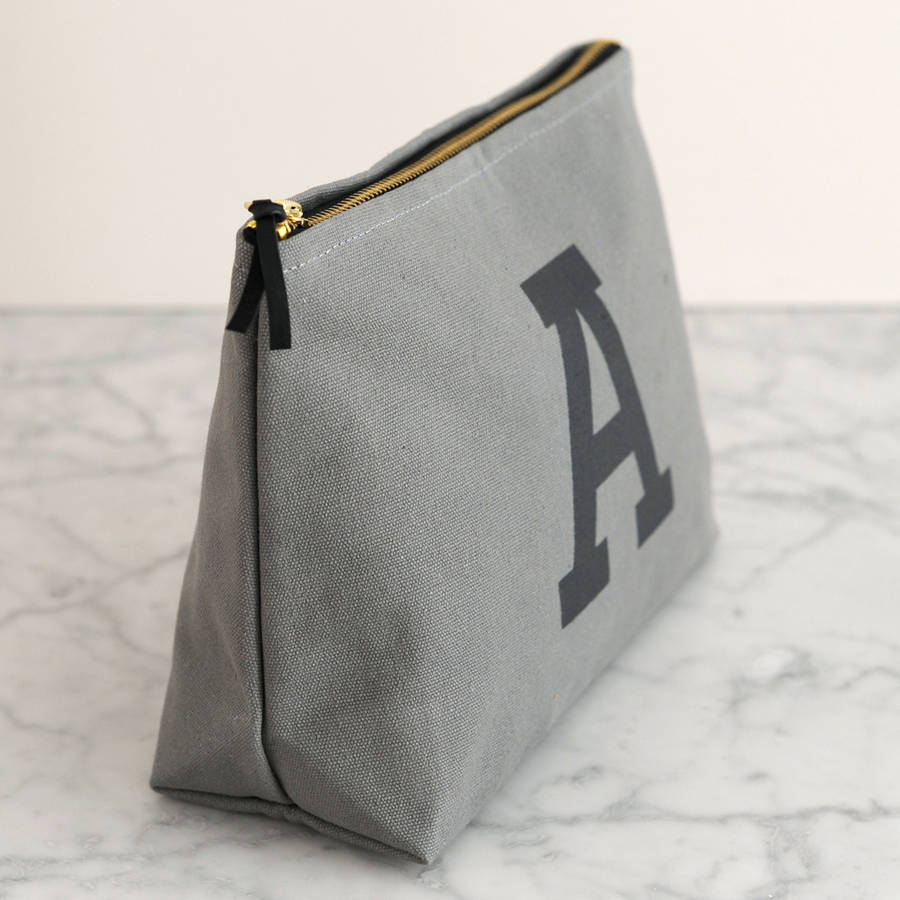 grey initial wash bag by alphabet bags
