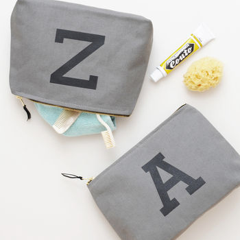 Grey Initial Wash Bag